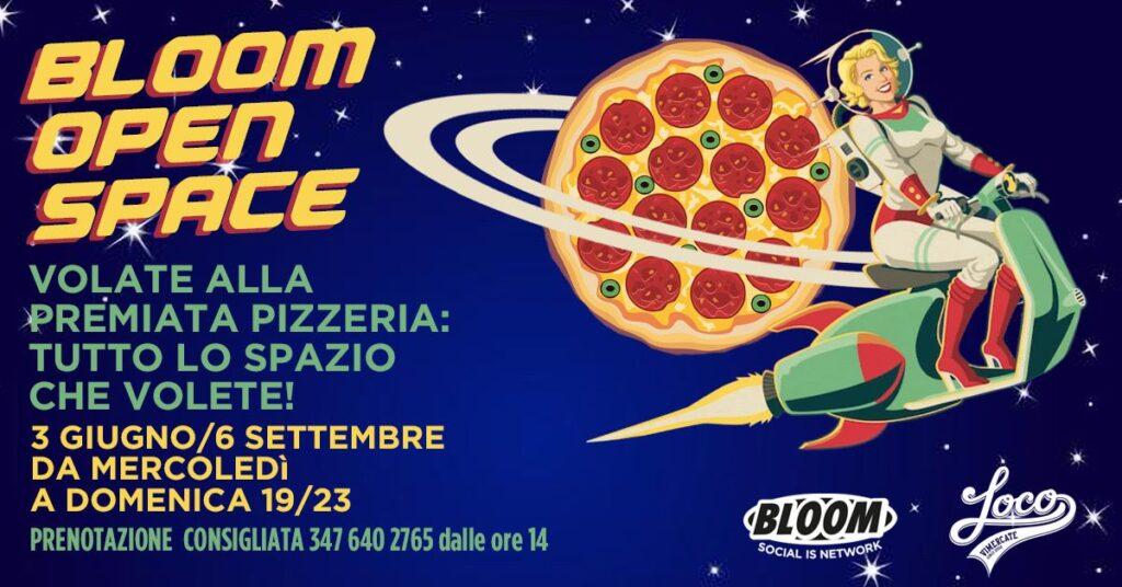 Flyer che pubblicizza la pizzeria, realizzata dal 2019 in collaborazione con la Loco di Vimercate. 2020