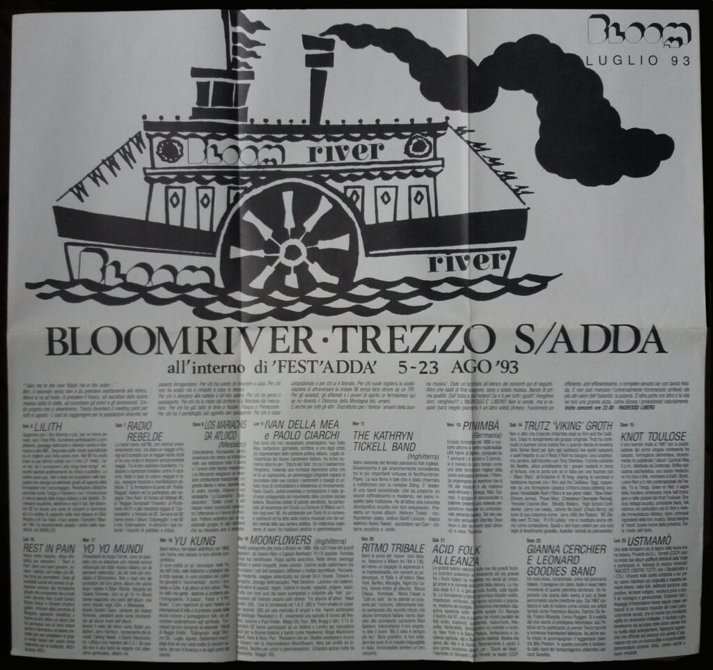 Pieghevole mensile dedicato al festival Bloomriver a Trezzo sull'Adda. 1993