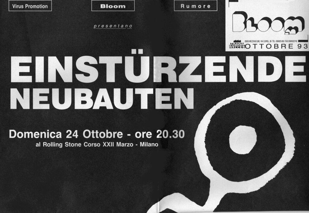 Flyer dell concerto degli Einstürzende Neubaten organizzato al Rolling Stone di Milano. 1993