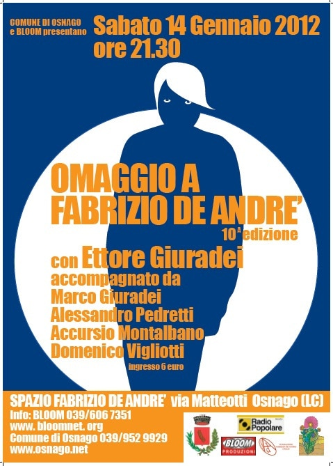 Locandina della decima edizione di Omaggio a De Andrè a Osnago (LC), 2012