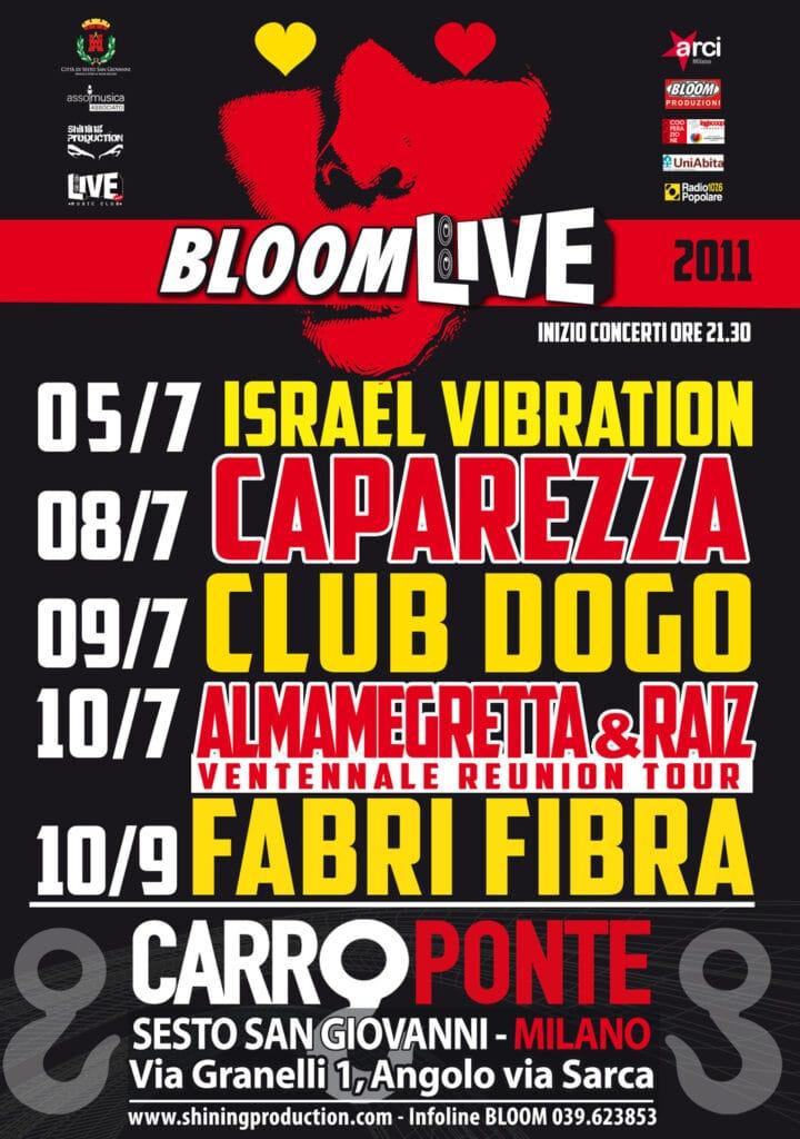 Locandina programma di Bloomlive 2011 al Carroponte