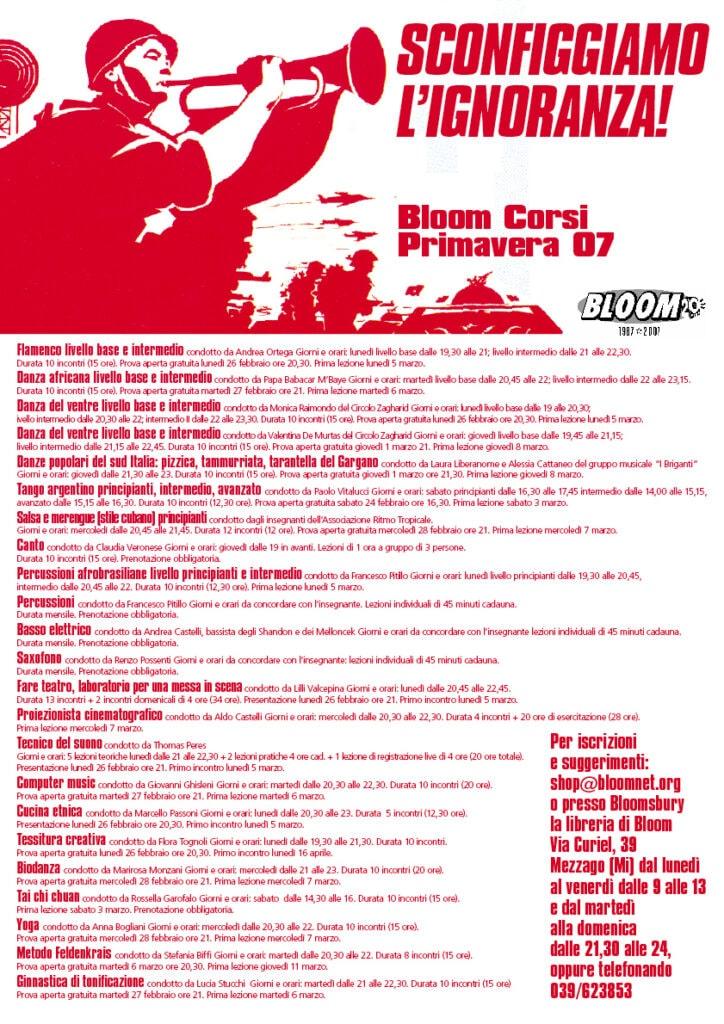 Locandina Sconfiggiamo l'ignoranza! per pubblicizzare i corsi primaverili. 2007