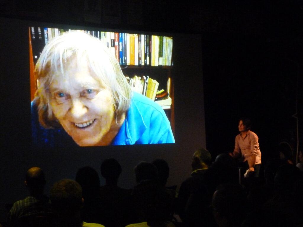 Margherita Hack collegata in videoconferenza, intervistata da Davide Facchini di Radio Popolare, nella serata dedicata a Vittorio Arrigoni. 2011