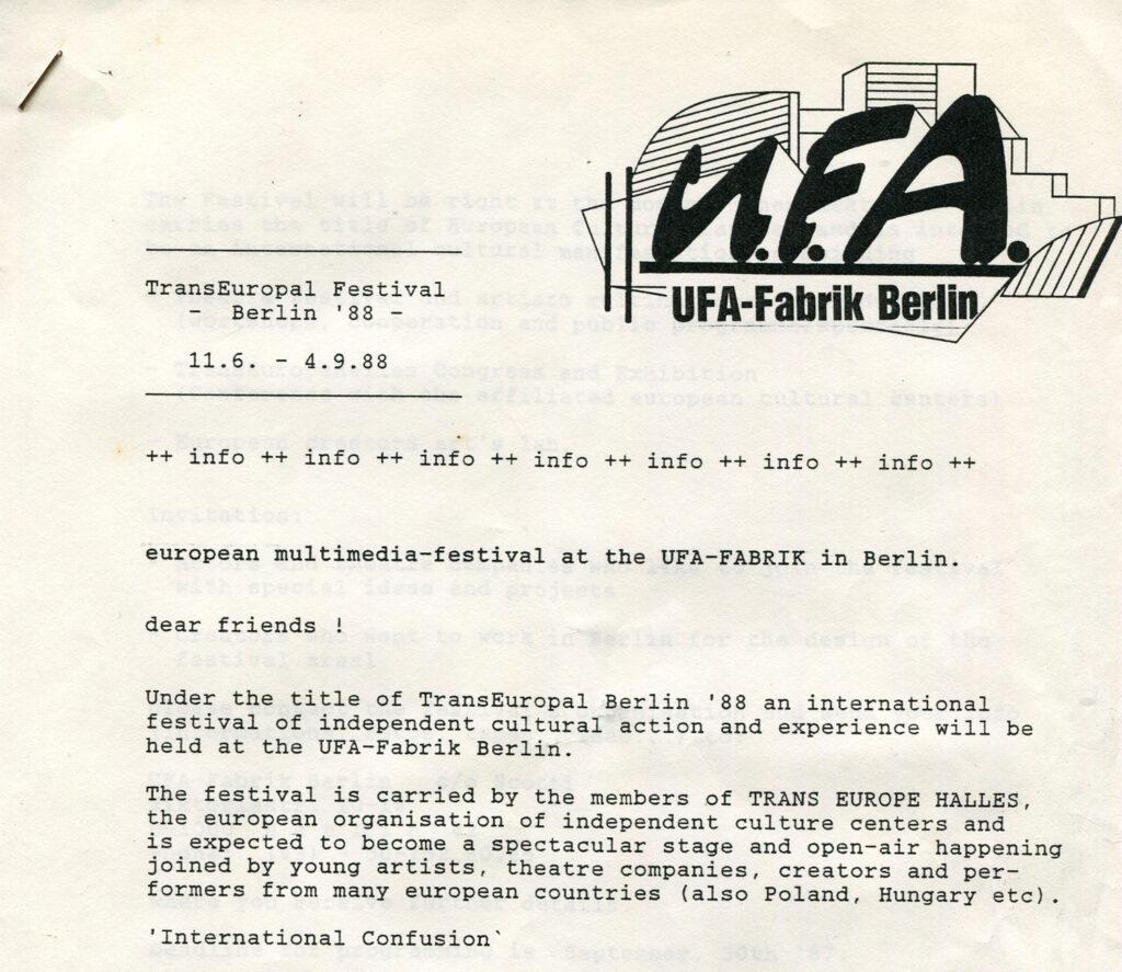 Corrispondenza con Ufa-Fabrik di Berlino, centro culturale inserito negli stabilimenti cinematografici dove vennero prodotti Metropolis e Il Gabinetto del Dr. Caligari. 1993