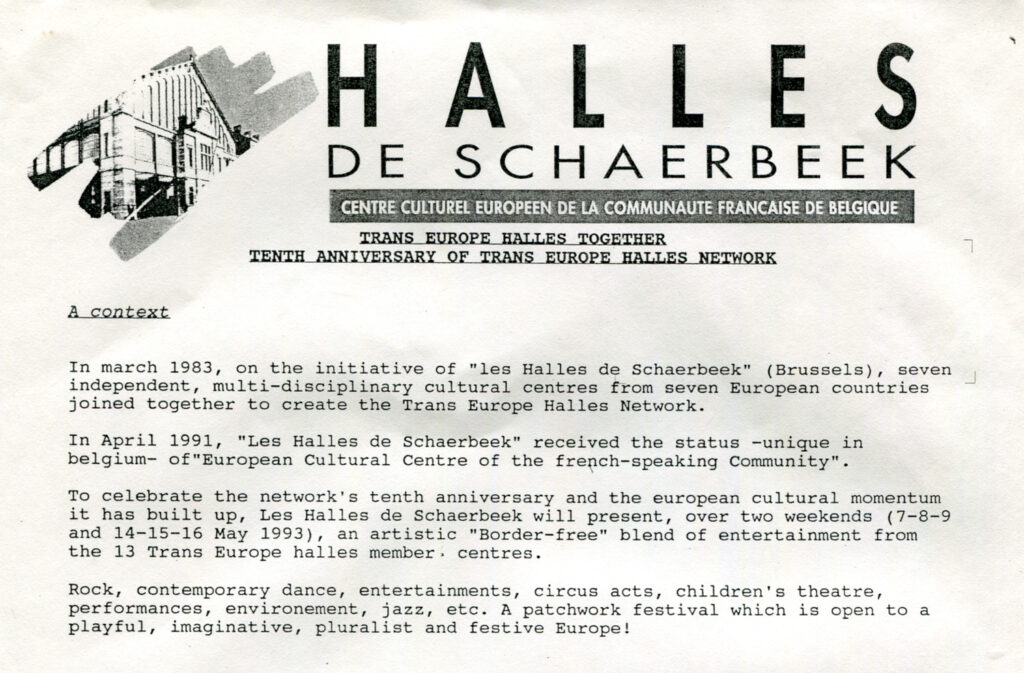 Corrispondenza con Halles de Schaerbeek, centro culturale di Bruxelles. 1993