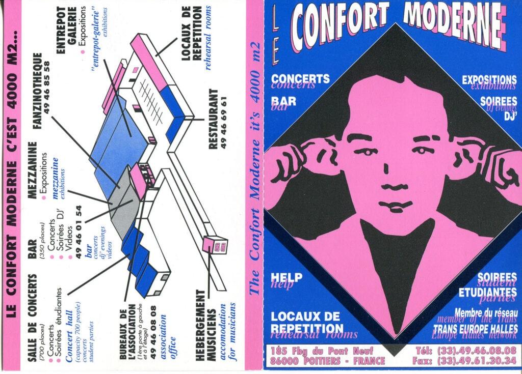 Flyer del centro Le Confort Moderne di Poitiers. 1994