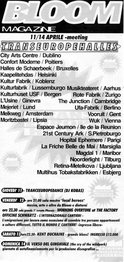Pieghevole mensile dedicato all'incontro dei centri aderenti al TEH. 1996