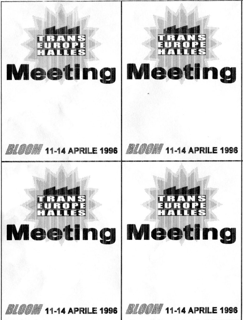 Flyerini del meeting di Trans Europe Halles al Bloom 1996