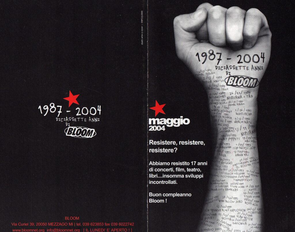 Flyer per le iniziative in occasione dei 17 anni. 2004