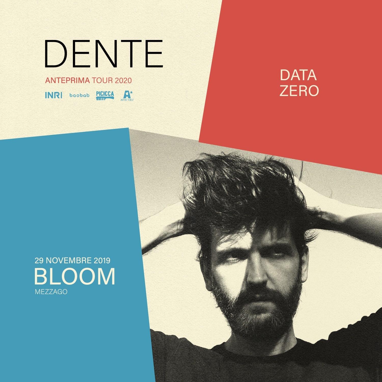 Flyer per il concerto di Giuseppe Peveri Dente, cantautore indie italiano, accompagnato dalla sua band. 2019