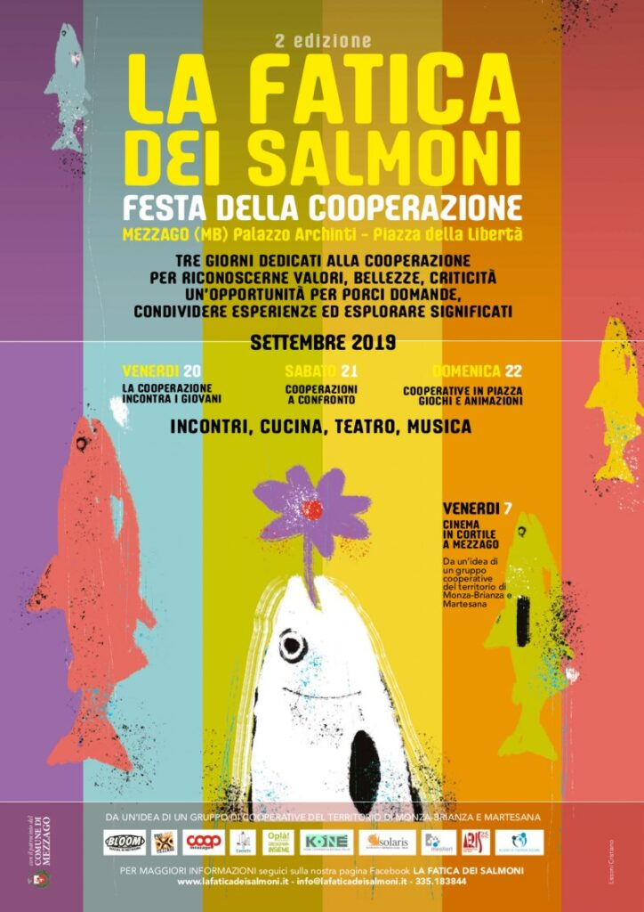 Flyer per La fatica dei salmoni, seconda edizione della festa della cooperazione. 2019