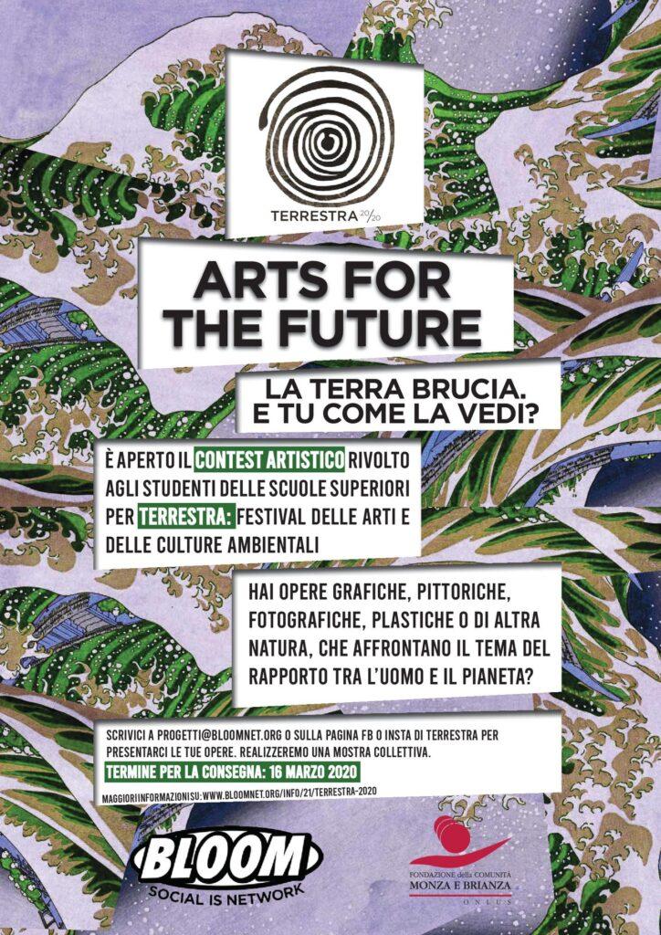 Flyer con la call rivolta a giovani artisti all'interno della rassegna Terrestra. 2020